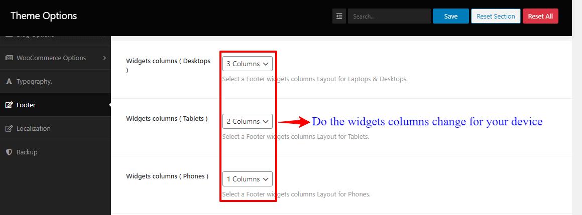 Screenshot of footer widgets columns