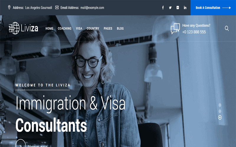 Immigration Consulting WordPress Theme Liviza