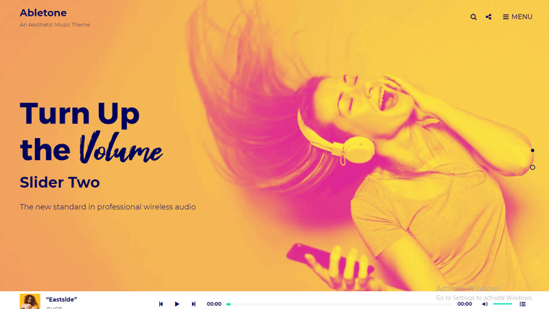 Preview Screenshots of Abletone WordPress theme for musicians
