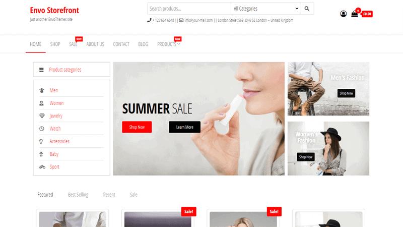 Envo Storefront Free Alternatives Theme of WooCommerce Storefront