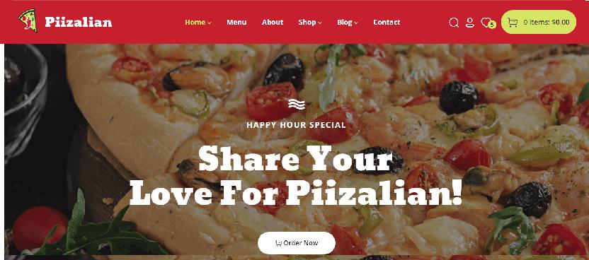 Piizalian - best from other foodie WordPress themes