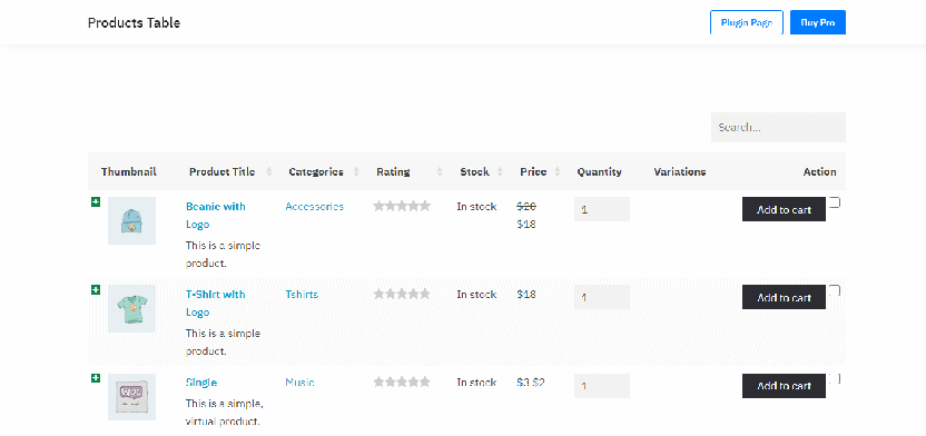 WordPress WooCommerce Product Table