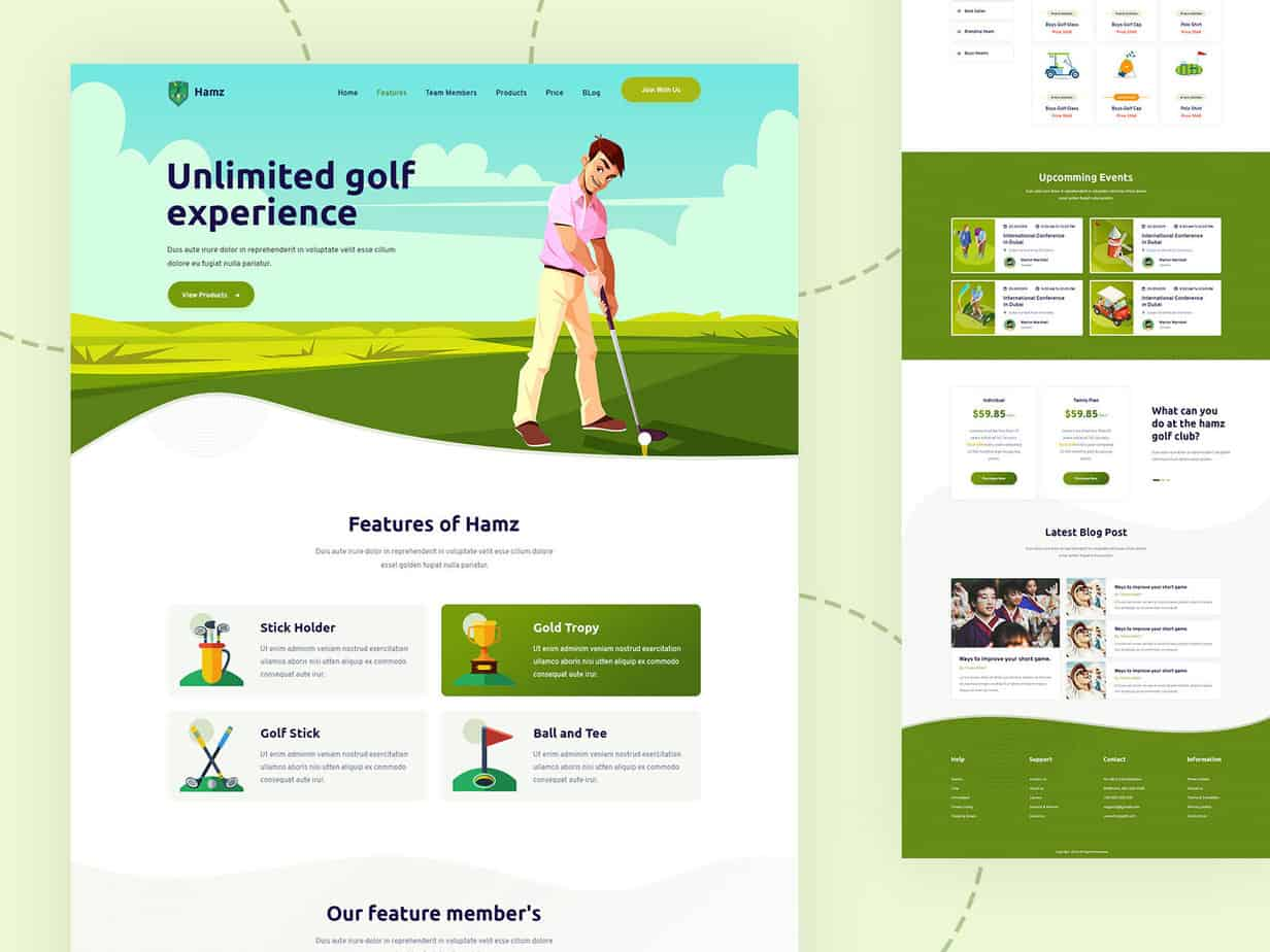HAMZ - Download Free Golf, Sports PSD Template