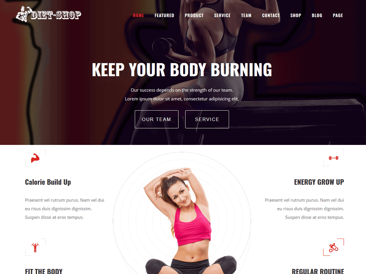 Diet Shop Free WordPress Gym Themes